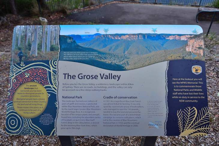 Image of the signboard at George Phillips Lookout, Blackheath NSW